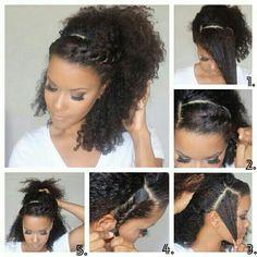 Para os cabelos cacheados um penteado lindo. (: #hair #penteado #cachos #trança