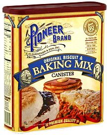 The ONLY Biscuit Recipe You'll Need:  2 C Pioneer Buttermilk Biscuit & Baking Mix [Walmart], 1/2 C 7up or Sprite, 1 C sour cream 1/2 stick melted butter.  Using a pastry blender or like me, by hand: mix baking mix, sour cream and 7up. Don't over-mix or dough will be tough. Roll out on floured surface. Cut out with a drinking glass (or a fancy biscuit cutter). Dip in melted butter. Place on baking sheet. Bake 375 degrees for 20 min or til golden.