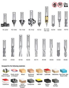 18-Pc Advanced General Purpose CNC Router Bit Collection