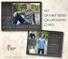 PERSONALIZED 5x7 2-sided Boys Graduation Card   by WarmHeartPhotos