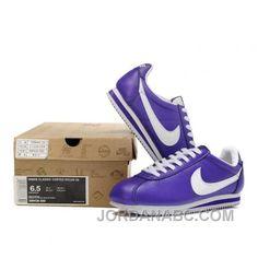 Nike Cortez Leather Women Shoes Purple White