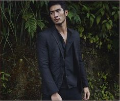 Not usually a huge fan of monochromatic, but here the varying textures work. Godfrey Gao for Louis Vuitton.