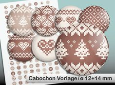 """Digital Collage Sheet for Button or Cabochon  128 printable images """"Norwegian Pattern"""" on a DIN A4-Sheet Size 12 and 14 mm"""