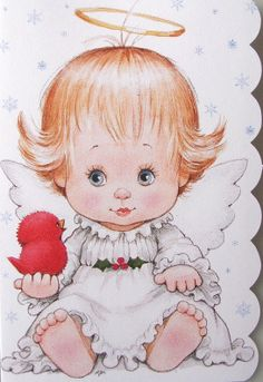 Morehead Baby Girl Angel Halo Cardinal Bird Christmas Holiday Greeting Card New | eBay