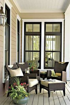Like the windows and color scheme of porch.
