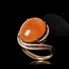 @unitedjewelry. The natural red jadeite and diamond cabochon ring, symbolising gorgeous and wealth.