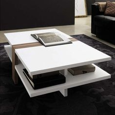 New Modern Coffee Tables For Stylish Living Room Interior White Painted Wood Two Levels Design Black Sofa And Patterned Carpet Coffee Table For Small Living Room, Modern White Living Room, Living Room Table Sets, Simple Coffee Table, Coffe Table, Coffee Table Design, Dining Room, Contemporary Coffee Table, Modern Coffee Tables