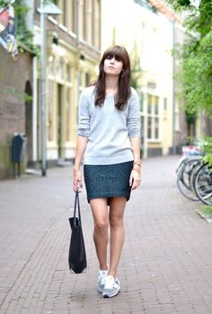 Skirt+sweater+sneakers=teacher's outfit
