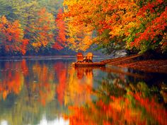 Adirondack chairs in the Fall