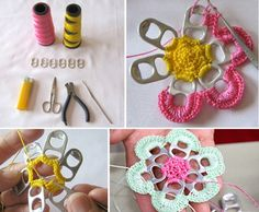 pull tabs crochet flowers collage