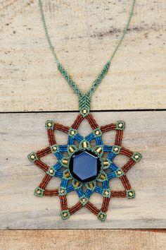 Mandala Collar Macrame Jade Negro