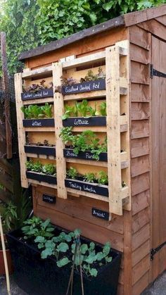 Vertical garden made with palette – Garden Types - How to Make Gardening Vertical Garden Design, Herb Garden Design, Vertical Gardens, Vegetable Garden Design, Back Gardens, Garden Art, Vegetable Gardening, Gardening Hacks, Rocks Garden