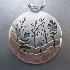 Pendant | Beth Millner. 'Large Woodland Forest'.  Copper, Silver and Brass