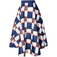 Relaxfeel Women's High Waist Vintage Tutu A-Line Midi Skirts Elastic Waist