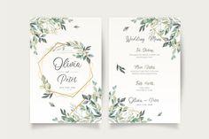 Wedding invitation and menu template with beautiful leaves Free Vector | Free Vector #Freepik #vector #freeframe #freewedding #freewatercolor #freewedding-invitation