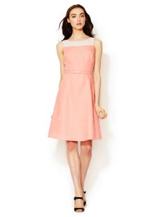 Linen Sheer Yoke Belted Dress by One Forty 8 by Lafayette 148 New York at Gilt