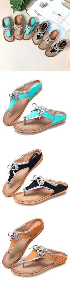 Socofy SOCOFY Large Size Butterfly Knot Clip Toe Flat Casual Beach Slippers is comfortable to wear. Shop on NewChic to see other cheap women sandals on sale. Tennis Shoe Heels, Low Heel Shoes, Socks And Sandals, Sandals For Sale, Cheap Womens Shoes, Shoes Women, Leather Slippers, Comfy Shoes, Fashion Sandals