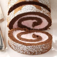 Chocolate & Peppermint Ice Cream Roll Recipe -Here's an extra-special treat from the freezer. Peppermint ice cream rolled into a homemade chocolate cake gives dinner a refreshing finale. —Jill Evely, Wilmore, Kentucky