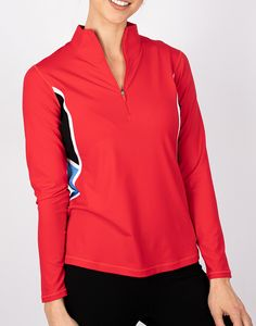Check out what Loris Golf Shoppe has for your days on and off the golf course! Annika Ladies & Plus Size Dimension Colorblock Long Sleeve Zip Golf Shirts - FEARLESS (Wild Red)