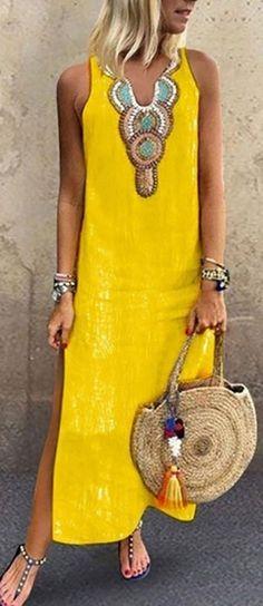 Fashion Long Dresses for Women Summer Printed Sleeveless Split Hem Kaftan Maxi Dress Casual Loose Sun Dresses