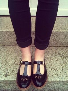 MARTIE Patent T Bar Geek Shoes from Topshop