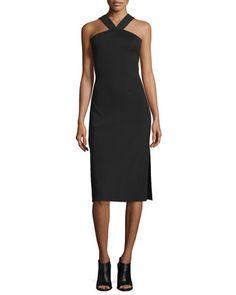 Rachel Sleeveless Ribbed Midi Dress, Black by Rag