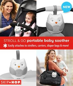 Soothe baby on-the-go! Strap it on your stroller, carrier or diaper bag and let Skip Hop's portable soother calm  baby with sweet lullabies and nature sounds.