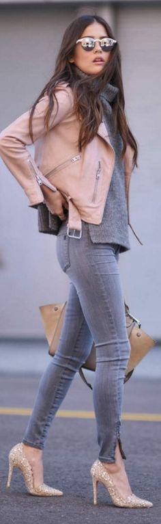 Blush + grey.