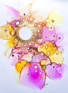 Alcohol Ink Tiles, Alcohol Ink Crafts, Alcohol Ink Painting, Alcohol Inks, Gold Glitter Nail Polish, Gold Highlights, Art Techniques, Nara, Acrylics