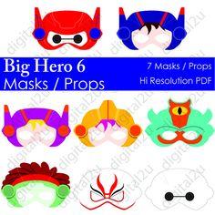 Big Hero 6 Photo Booth Props / Masks DIY Digital by digital2u