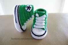 Miniconverse de crochet hechos a mano con perlé de alta calidad. Patucos de primavera/verano/otoño.Elije talla y colores!!!!Tallas: 0-3 meses (9 cm)