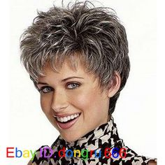 Buy picture color hot sale hair Curly products Beautiful boy cut Short pixie wigs for women style Synthetic Gray hair wig with bangs 2086 at Wish - Shopping Made Fun Short Pixie Wigs, Short Human Hair Wigs, Short Shag, Pixie Cuts, Grey Hair Wig, Short Grey Hair, Hair Bangs, Older Women Hairstyles, Messy Hairstyles