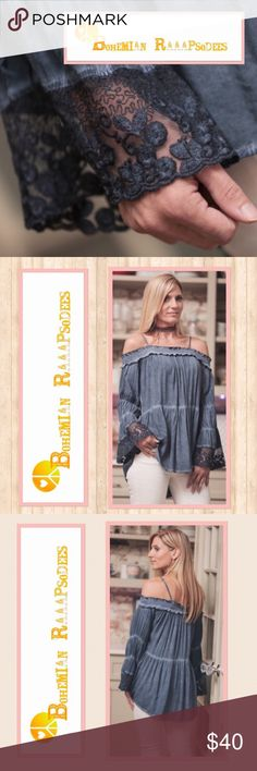 Cold Shoulder Top Beautiful, off the shoulder boho top with fun, lace-detailed sleeves. Indigo Blue in color. Shoulder straps can be adjusted and used for a cold shoulder effect, or completely hidden. These are Ladies sizes. Small: 2/4, Medium: 6/8, Large: 10/12. Cotton Polyester material. Listing photos courtesy of Infinity Raine. Infinity Raine Tops Blouses