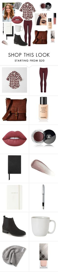 """""""October"""" by nicky-jane-neary on Polyvore featuring Abercrombie & Fitch, 8, Frye, Chanel, Lime Crime, Smythson, Yves Saint Laurent, Kate Spade, Cross and Juliska"""
