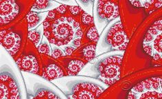 Red fractal cross stitch kit or pattern | Yiotas XStitch