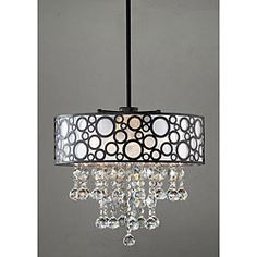 Illuminate your room with this elegant crystal chandelier. This light has a straight pole leading to bubble-like pattern, which then turns to cascading crystals. The light accepts four, candelabra bulbs, putting brightness to your dark room. Drum Ceiling Lights, Ceiling Chandelier, Ceiling Pendant, Pendant Lamp, Pendant Lighting, Round Chandelier, Bubble Chandelier, Chandelier Ideas, Loft Lighting