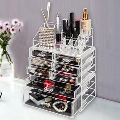 Makeup Shelves, Makeup Drawer Organization, Desktop Organization, Makeup Storage, Closet Organization, Organization Ideas, Cosmetic Display, Cosmetic Storage, Cosmetic Case