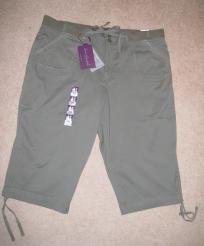 Gloria Vanderbilt Olive Green Draw String Capri Pants - NWT - Size 18