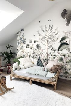 Today we are sharing 10 Stylish Nursery Wallpaper Ideas that just might convince to wallpaper your baby's nursery. Baby Room Decor, Nursery Room, Kids Bedroom, Nature Bedroom, Nature Inspired Bedroom, Wall Murals Bedroom, Kids Wall Murals, Boy Bedrooms, Garden Nursery