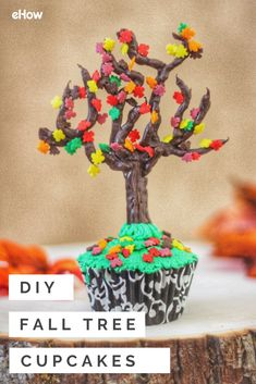 Each cupcake is topped with a tree whose trunk is actually a chocolate-covered pretzel stick. And the fall leaf sprinkles scattered on the chocolate branches add another edible surprise to these clever treats. As with a real pile of leaves, you'll want to dive right in.