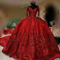 Red wedding dress sequins dress train - Wedding Dress With Sleeves Prom Dresses Long With Sleeves, Beaded Prom Dress, Prom Dresses With Sleeves, Beaded Lace, Dress Long, Ball Gowns Prom, Ball Dresses, Red Ball Gowns, Red Gowns