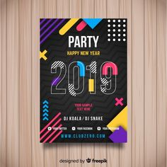 Creative 2019 new year party poster Free Vector - Faydalı Bitkiler Poster Layout, Poster Poster, Vector Design, Flyer Design, Graphic Design, Design Design, Creative Poster Design, Creative Posters, Party Layout