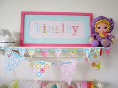 Girls' Room -- Beautiful framed name and banner