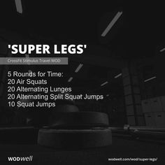 """""""Super Legs"""" WOD - 5 Rounds for Time: 20 Air Squats; Leg Workout At Home, Squat Workout, Workout Memes, At Home Workouts, Weekly Workouts, Quick Workouts, Workout Tips, Workout Routines, Crossfit Wods"""