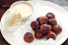 Spanish almond meatballs are perfect party food fare - there's a mouthful of flavour in every bite!