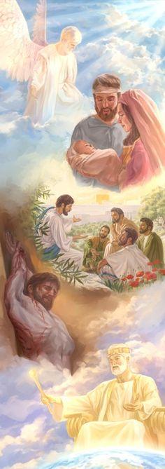 Desenho mostrando as várias designações que Jesus teve: ajudar a criar as coisas, vir para a Terra, ensinar os discípulos, dar a vida para salvar outros e ser o Rei do Reino de Deus
