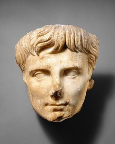 Marble portrait of the emperor Augustus, ca. A.D. 14–37, Roman