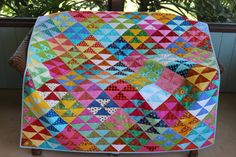 NEW Colors of Carnival Handmade Half Square by RedAmaryllisQuilts