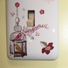 Song bird themed steel single light switch by MoanasUniqueDesigns, $10.00