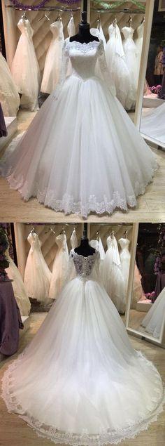 b3eb5d652 Bateau Neck Long Illusion Sleeve Tulle Ball Gown With Lace  Hemline-ET 711506 Designer Wedding Dresses